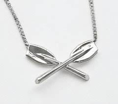 Crossed Tulip Oars Rowing Necklace with Box Chain by Rubini Jewelers
