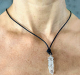 Quartz Crystal with Silver Rowing Oar Wrap Pendant by Rubini Jewelers