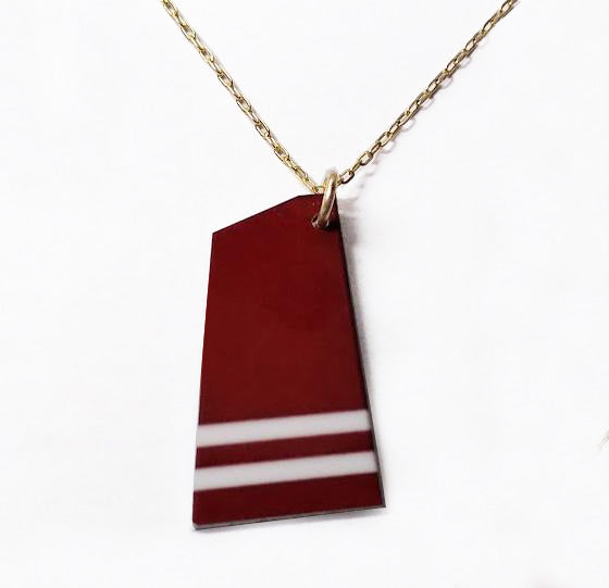 Custom Aluminum Rowing Team Oar on Gold Filled Chain Necklace by Rubini Jewelers