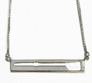Cut Away Rowing Oar Bar Necklace in Sterling Silver, by Rubini Jewelers