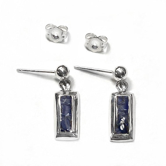 Lapis Lazuli Inlaid Silver Rectangles on Ball Dangle Earrings by Rubini Jewelers