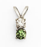 14Kt Gold Diamond and Tsavorite Garnet Petite Pendant by Rubini Jewelers