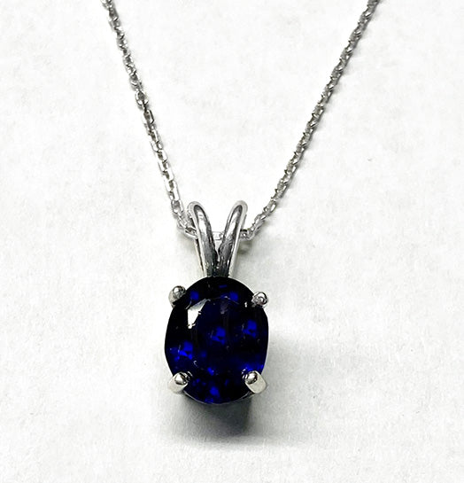 Diffused Sapphire in Sterling Silver Filigree Basket Pendant at Rubini Jewelers