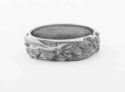 Double Dragon Design Silver Band by Rubini Jewelers