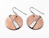 Dragon Boat Paddle on Copper Disc Earrings, by Rubini Jewelers