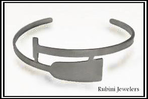 Dragon Boat, SUP, Paddle Board Paddle Stainless Steel Cuff Bracelet by Rubini Jewelers