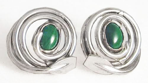 Earrings:Oar in round swirl shape w/ cab cut stone by Rubini Jewelers