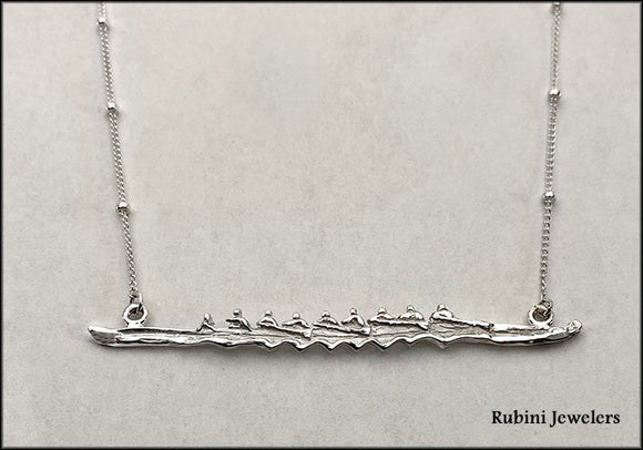 Eight Oar Rowing Boat on Buoy Line Chain with Diamond Bowball Necklace by Rubini Jewelers