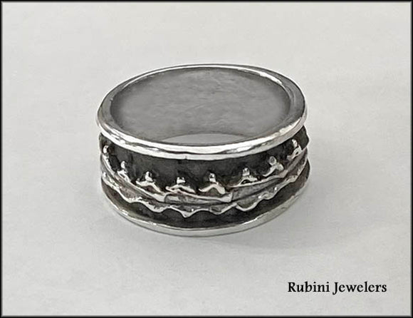 Eight Person Rowing Boat Solid Band with Rims Ring by Rubini Jewelers