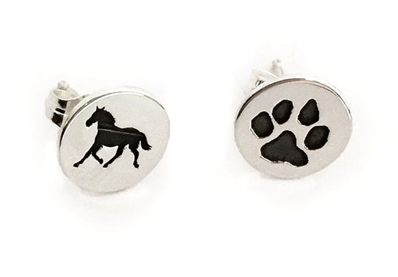 Equine Canine Silver Disc Earrings