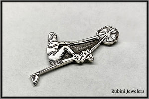 Erging Erger on Ergometer Brooch Sterling Silver by Rubini Jewelers