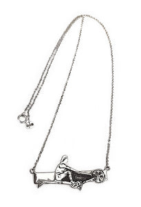 Rowing Machine, Ergometer, Crossfit on Bar Silver Necklace, by Rubini Jewelers