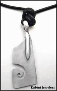 Extra Large Rowing Hatchet Blade with Swirl Pendant by Rubini Jewelers