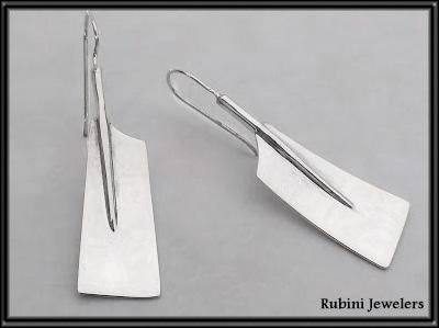 Extra Long Rowing Hatchet Blades Wire Earrings by Rubini Jewelers