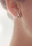 Crossed Field Hockey Stick Post Earrings by Rubini Jewelers