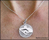 Flat Geometric Rower on a Disc Pendant by Rubini Jewelers