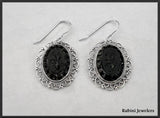 Floral Design Intaglio Obsidian Earrings at Rubini Jewelers