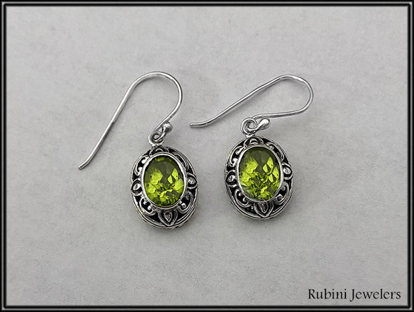 Sterling Silver Floral Design Peridot Dangle Earrings at Rubini Jewelers