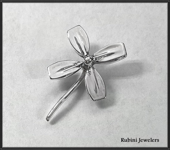 Four Leaf Clover of Rowing Blades Tie Tack or Lapel Pin by Rubini Jewelers