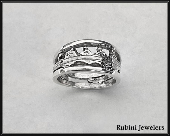 Four Oar with Coxswain Rowing Boat with Rims Ring by Rubini Jewelers
