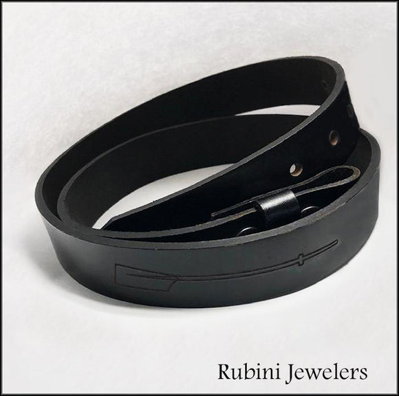 Full Grain Black Leather Belt Engraved with Rowing Oars by Rubini Jewelers