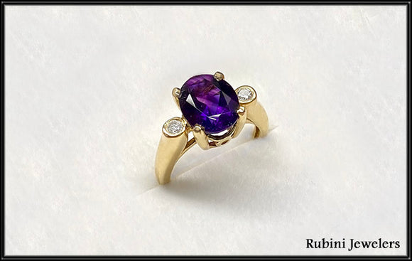 Gold Amethyst & Diamond Gold Ring, by Rubini Jewelers