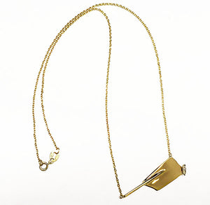 14Kt Gold Rowing Hatchet Necklace with Marquise Diamond, by Rubini Jewelers