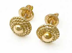 14K Gold Domed Disc Screw Post Earrings - Estate