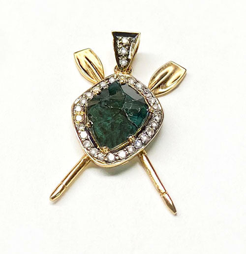 Necklace: Green Diamond over Crossed Oars, by Rubini Jewelers