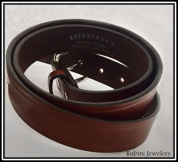 Grooved Warm Brown Full Grain Leather Belt and Snap On Buckle