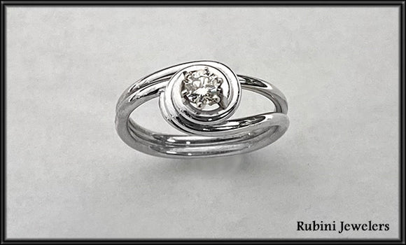 Handmade Sterling Silver Swirl Design Diamond Ring by Rubini Jewelers