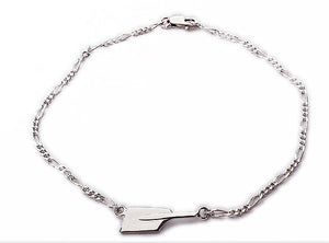 Small Rowing Oar Blade and Thin Figaro Chain Bracelet by Rubini Jewelers