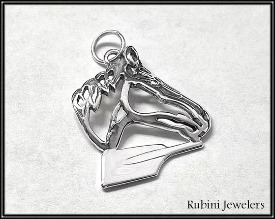 Horse on Rowing Hatchet Blade Pendant Sterling Silver, by Rubini Jewelers