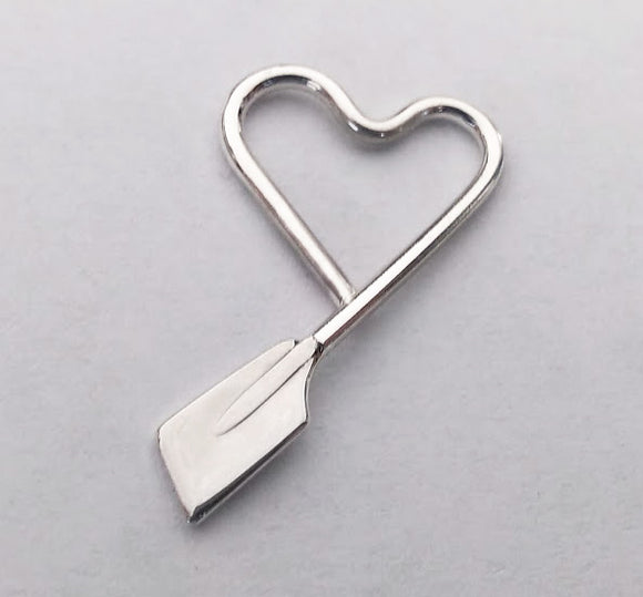Medium Freeform Heart with Small Rowing Blade Pendant Made by Rubini Jewelers.