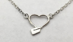 Petite Heart Shaped Oar within Chain Necklace