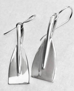 Large Rowing Blade Earrings on French Wires- Sterling Silver Made by Rubini Jewelers.
