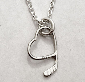 Ice Hockey Stick & Heart Pendant