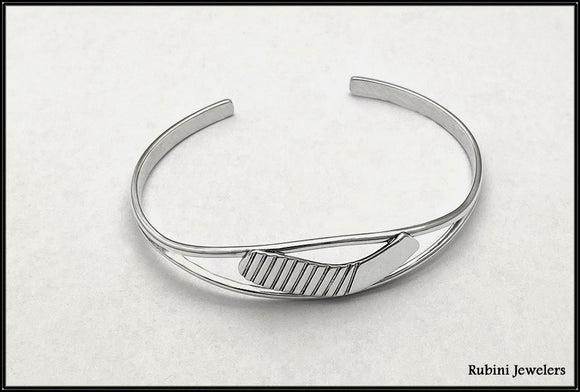 Ice Hockey Split Cuff Bracelet in Sterling Silver by Rubini Jewelers