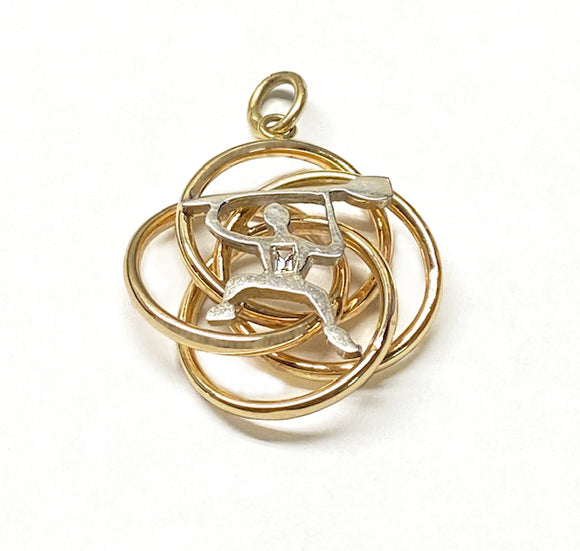 14Kt Gold Knot with Happy Rower-Paddler and Diamond Pendant by Rubini Jewelers