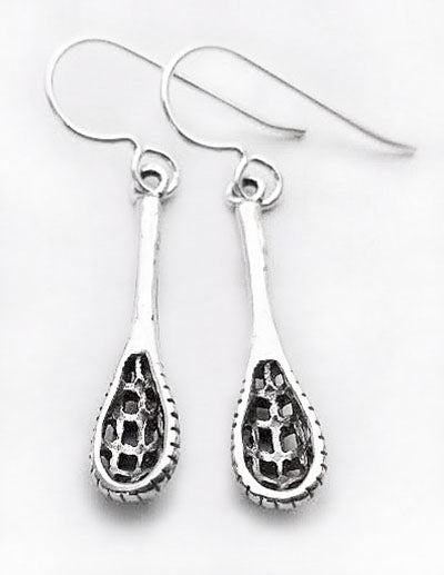 Sterling silver lacrosse stick dangle earrings by Rubini Jewelers