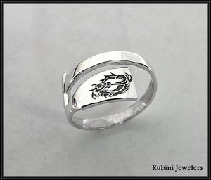 Large Dragon Boat Paddle Wrap Ring with Engraved Dragon by  Rubini Jewelers