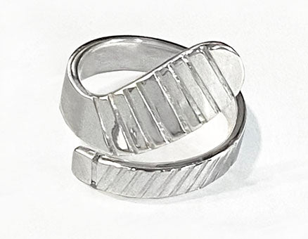 Large Ice Hockey Stick Wrap Ring Sterling Silver by Rubini Jewelers