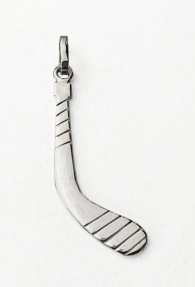 Large Sterling Silver Ice Hockey Stick Pendant by Rubini Jewelers