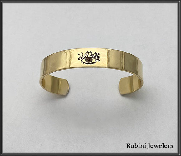 Brass Cuff Bracelet Engraved with Rubini Evil Eye Design