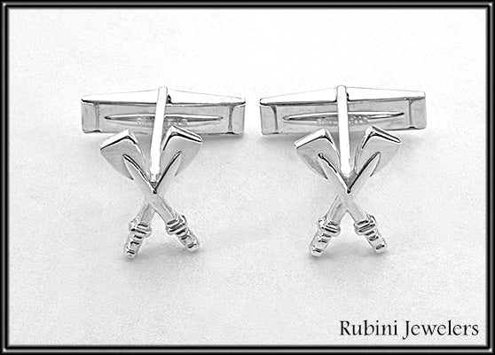 Medium Crossed Oars Sterling Silver Cuff Links by Rubini Jewelers