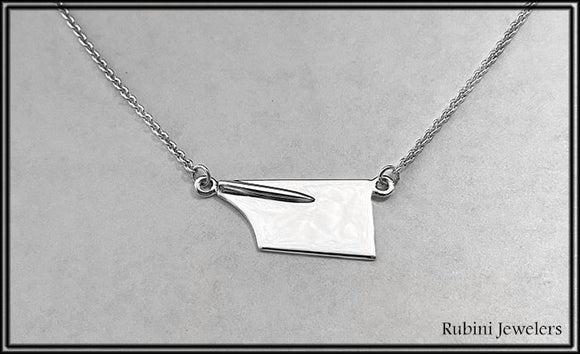 Medium Rowing Blade on Cable Chain Necklace by Rubini Jewelers