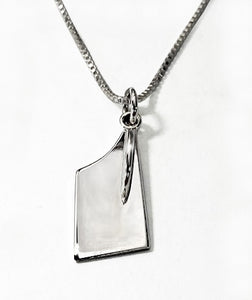 Medium Rowing Hatchet Blade on Box Chain Rowing Necklace by Rubini Jewelers