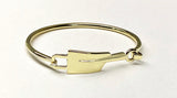 Medium Rowing Polished Brass Oar Hinged Bangle Bracelet by Rubini Jewelers