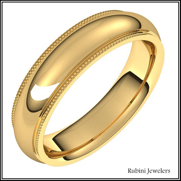 14Kt Yellow Gold Milgrain Edge Comfort Fit Band at Rubini Jewelers