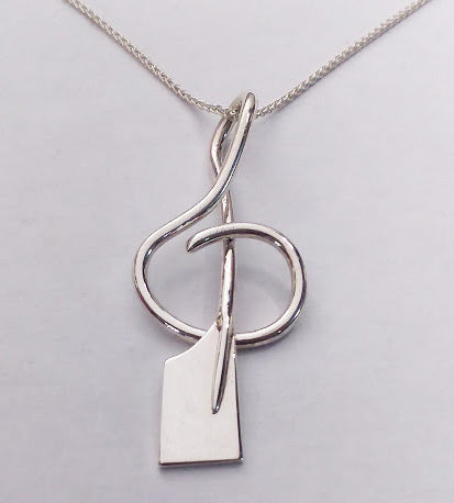 Treble Clef Rowing Oar Pendant- Sterling Silver, by Rubini Jewelers